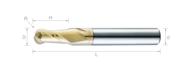 極細微粒鎢鋼球型銑刀(標準型)-2刃