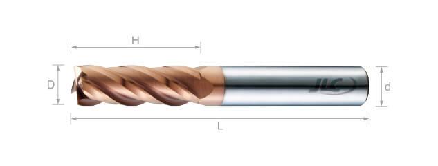 極細微粒鎢鋼銑刀(平溝型)35°-4刃