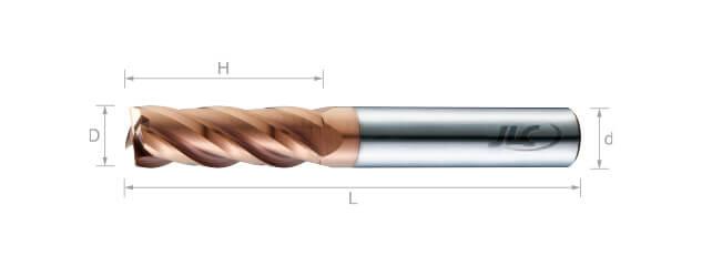 極細微粒鎢鋼銑刀(長刃型/平溝型) 35°-4刃
