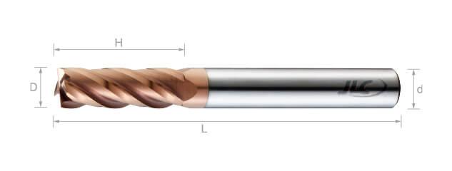 極細微粒鎢鋼銑刀(長柄型/平溝型)35°-4刃