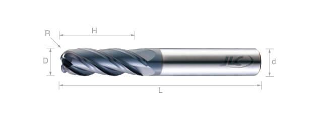 超微粒鎢鋼圓鼻銑刀(標準型/平溝型)-4刃