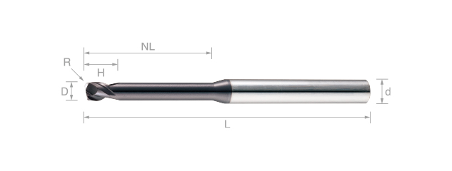 超微粒鎢鋼圓鼻銑刀(短刃長頸型)-2刃