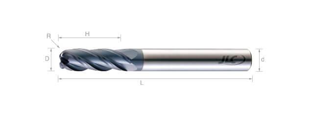 超微粒鎢鋼圓鼻銑刀(長柄型)-4刃