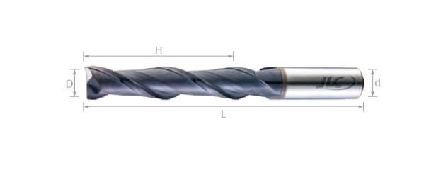 超微粒鎢鋼銑刀(長刃型/平溝型) 35°-2刃