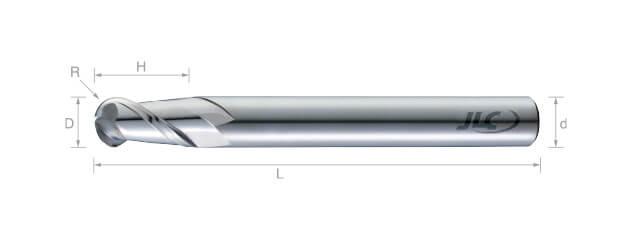 鎢鋼球型鋁用銑刀(長柄型)-2刃