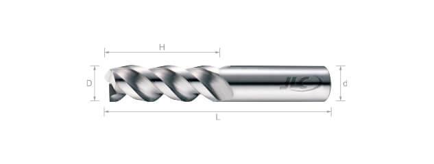 鎢鋼鋁用銑刀(標準型)45°-3刃