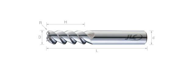 鎢鋼圓鼻鋁用銑刀(標準型/精修型)55°-3刃