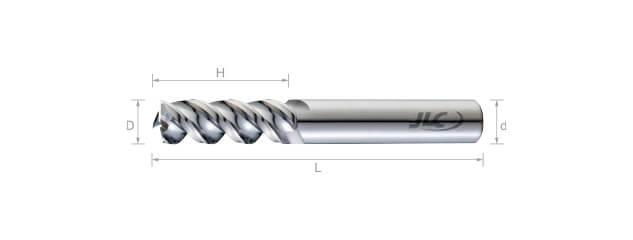 SEP鎢鋼鋁用銑刀(加長型/圓溝型/5倍長)50°-3刃