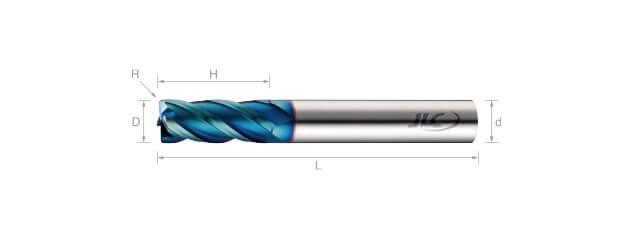 高速高硬度圓鼻銑刀(標準型)-4刃