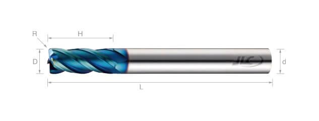高速高硬度圓鼻銑刀(長柄型)-4刃