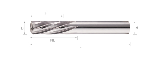 鎢鋼螺旋機械絞刀(短刃型)- 6刃