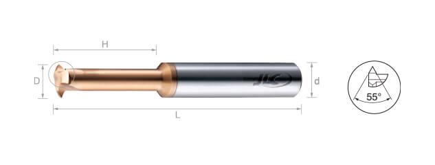鎢鋼銑牙刀-部份成型 55˚ (內牙/外牙)