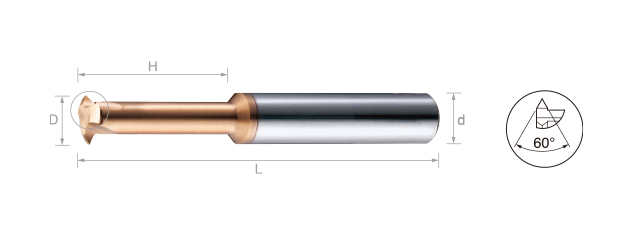 鎢鋼銑牙刀-部份成型60˚-ISO公制(內牙)
