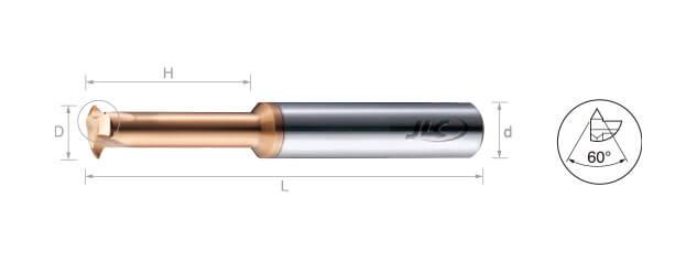 鎢鋼銑牙刀-部份成型60˚(內牙/外牙)