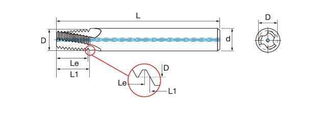鎢鋼內冷螺紋銑牙刀-BSPT(內牙/外牙)