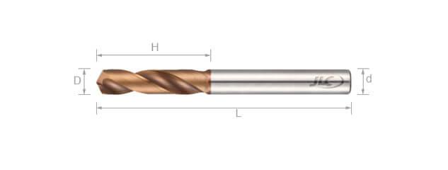 鎢鋼同柄鑽頭 (3倍長) -2刃